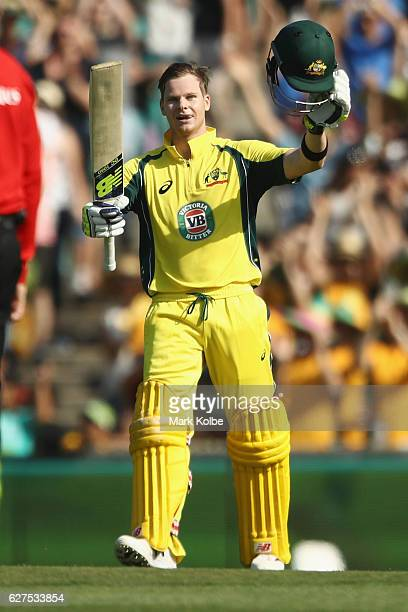 Steven Smith of Australia celebrates his century during game one of the One Day International series between Australia and New Zealand at Sydney...