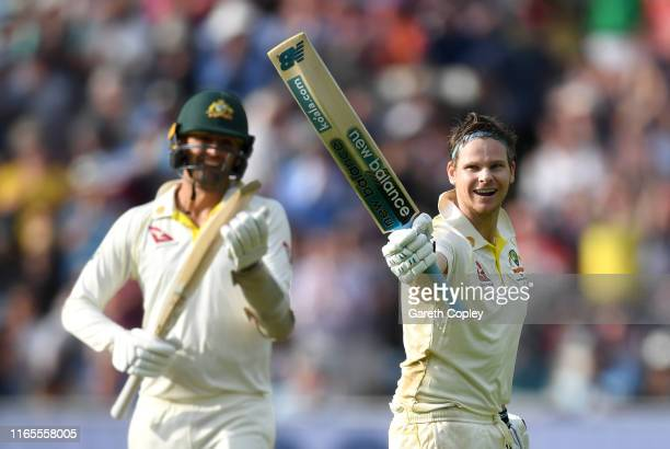 Steven Smith of Australia celebrates reaching his century during day one of the 1st Specsavers Ashes Test between England and Australia at Edgbaston...
