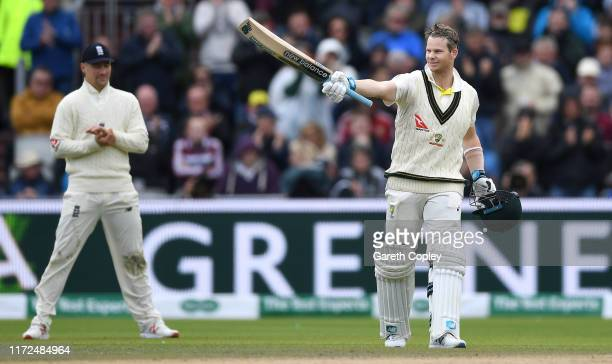 Steven Smith of Australia celebrates reaching his century during day two of the 4th Specsavers Ashes Test between England and Australia at Old...