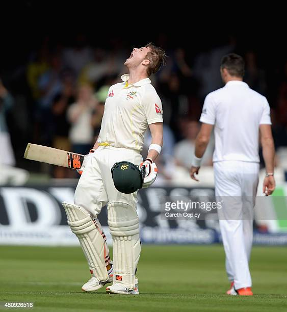 Steven Smith of Australia celebrates reaching his century during day one of the 2nd Investec Ashes Test match between England and Australia at Lord's...