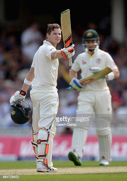 Steven Smith of Australia celebrates reaching his century during day two of the 5th Investec Ashes Test match between England and Australia at The...