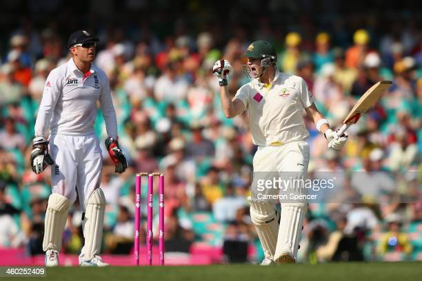 Steven Smith of Australia celebrates scoring a century during day one of the Fifth Ashes Test match between Australia and England at Sydney Cricket...