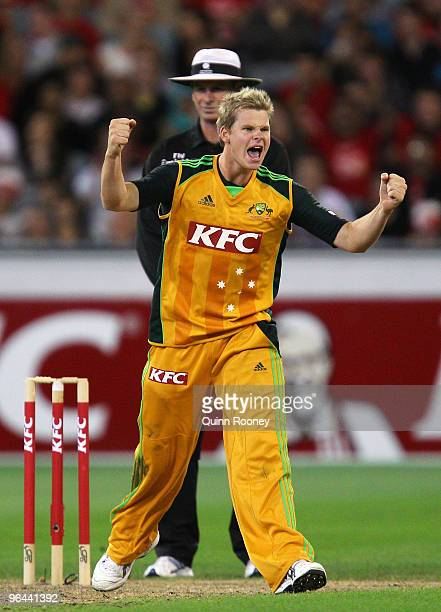Steven Smith of Australia celebrates the wicket of Fawad Alam of Pakistan during the Twenty20 international match between Australia and Pakistan at...