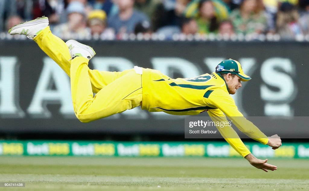 Steven Smith, of Australia dives as he attempts to take a catch during game one of the One Day International Series between Australia and England at Melbourne Cricket Ground on January 14, 2018 in Melbourne, Australia.
