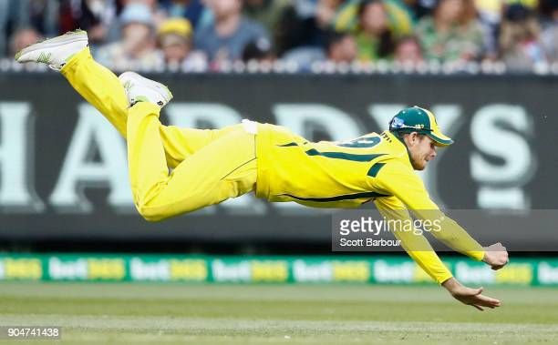 Steven Smith of Australia dives as he attempts to take a catch during game one of the One Day International Series between Australia and England at...