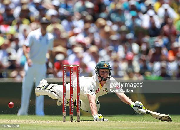Steven Smith of Australia dives into his crease to avoid a run out during day three of the Third Ashes Test match between Australia and England at...