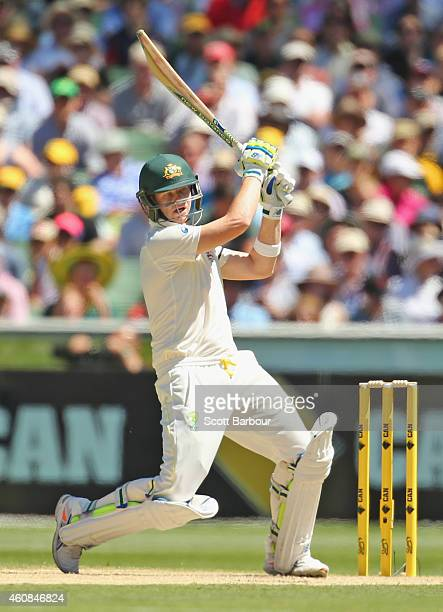 Steven Smith of Australia hits a boundary during day two of the Third Test match between Australia and India at Melbourne Cricket Ground on December...