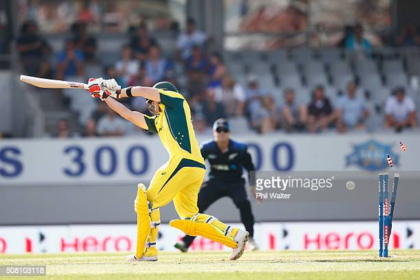 Steven Smith of Australia is bowled by Matt Henry of New Zealand during the One Day International match between New Zealand and Australia at Eden...