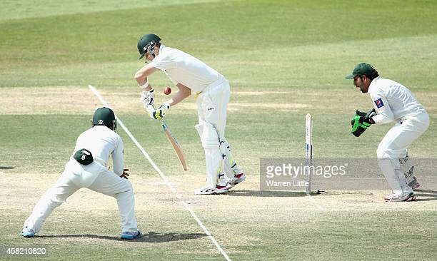 Steven Smith of Australia is bowled lbw by Zulfiqar Babar of Pakistan during Day Three of the Second Test between Pakistan and Australia at Sheikh...