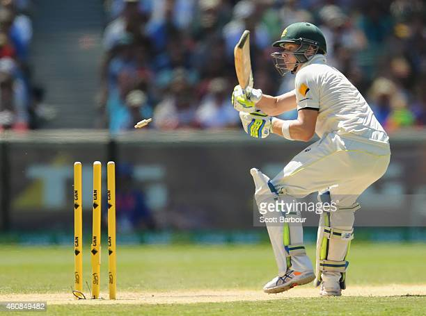 Steven Smith of Australia is dismissed bowled during day two of the Third Test match between Australia and India at Melbourne Cricket Ground on...
