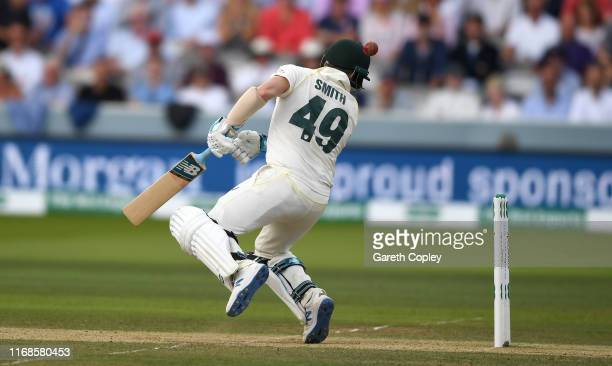 Steven Smith of Australia is hit in the head by a ball from Jofra Archer of England during day four of the 2nd Specsavers Ashes Test match at Lord's...