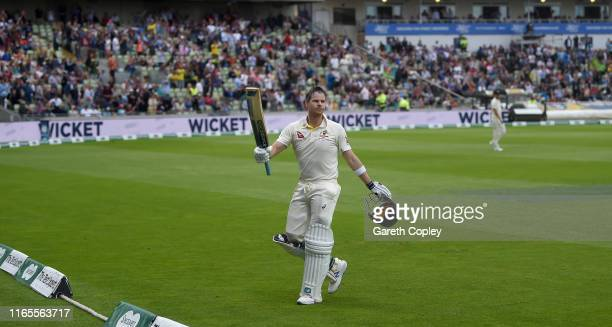 Steven Smith of Australia leaves the field after being dismissed during day one of the 1st Specsavers Ashes Test between England and Australia at...