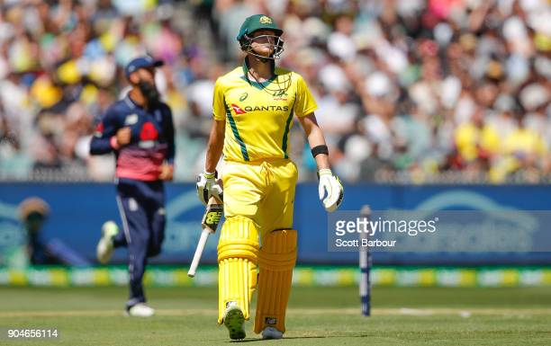 Steven Smith of Australia leaves the field after being dismissed during game one of the One Day International Series between Australia and England at...