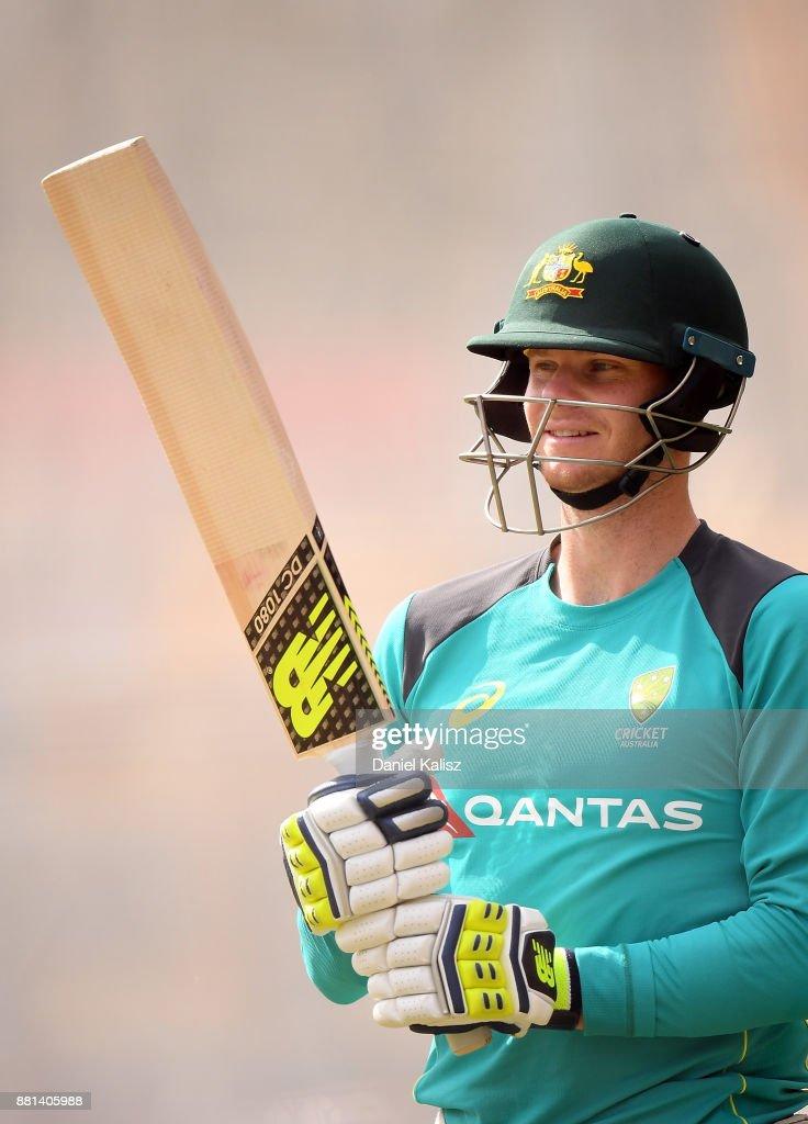 Steven Smith of Australia looks on during an Australian nets session at Adelaide Oval on November 29, 2017 in Adelaide, Australia.