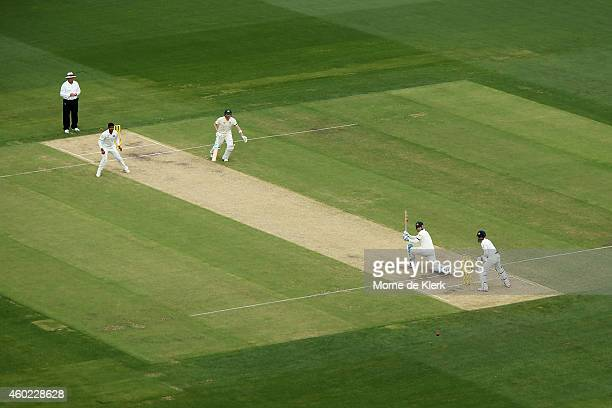 Steven Smith of Australia plays a delivery by Karn Sharma of India during day two of the First Test match between Australia and India at Adelaide...