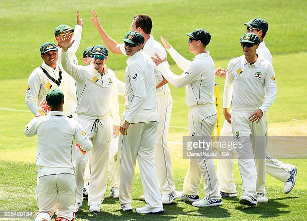 Steven Smith of Australia reacts after Josh Hazlewood of Australia takes the wicket of JeanPaul Duminy of South Africa who is caught by Matthew Wade...