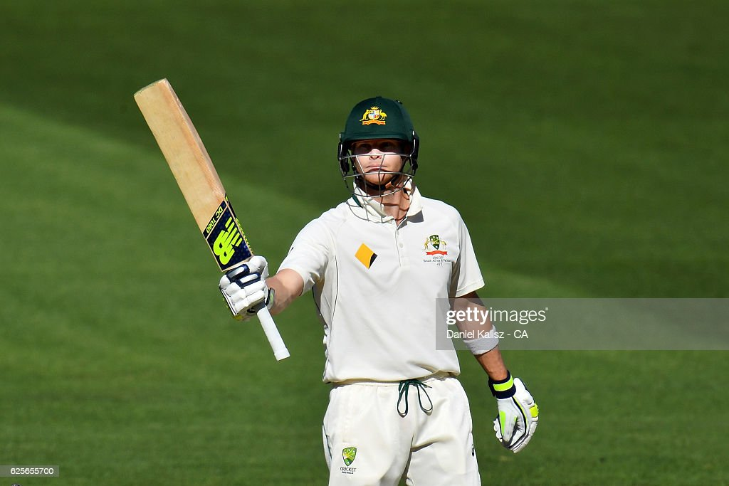Steven Smith of Australia reacts after reaching his half century during day two of the Third Test match between Australia and South Africa at Adelaide Oval on November 25, 2016 in Adelaide, Australia.