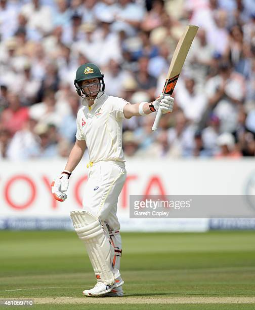 Steven Smith of Australia salutes the crowd after reaching 150 runs during day two of the 2nd Investec Ashes Test match between England and Australia...