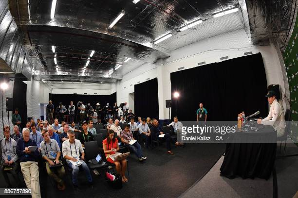 Steven Smith of Australia speaks to the media during a post match press conference during day five of the Second Test match during the 2017/18 Ashes...