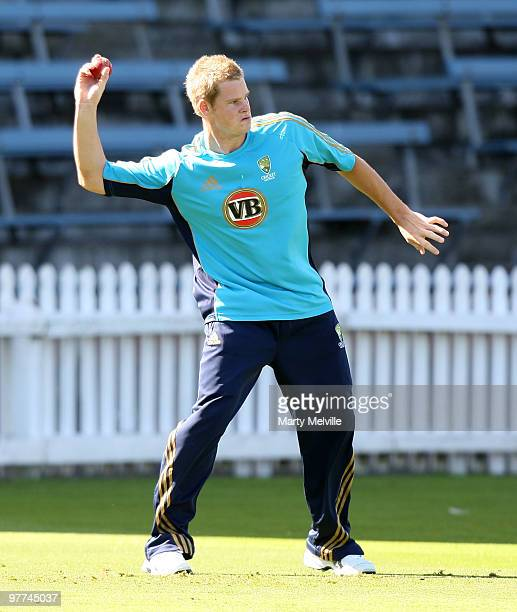 Steven Smith of Australia takes a catch during an Australian Training Session at Basin Reserve on March 16 2010 in Wellington New Zealand