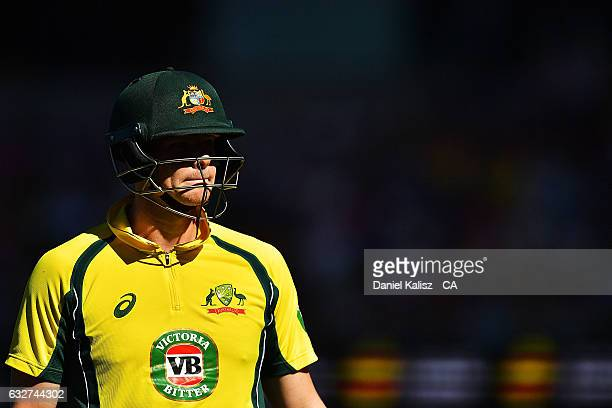 Steven Smith of Australia walks from the field after being dismissed during game five of the One Day International series between Australia and...