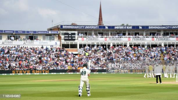 Steven Smith of Australia walks out to bat during day one of the 1st Specsavers Ashes Test between England and Australia at Edgbaston on August 01...