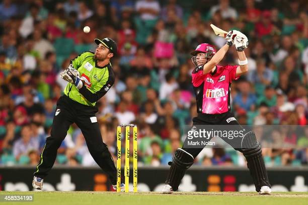 Steven Smith of the Sixers bats during the Big Bash League match between the Sydney Sixers and Sydney Thunder at SCG on December 21 2013 in Sydney...