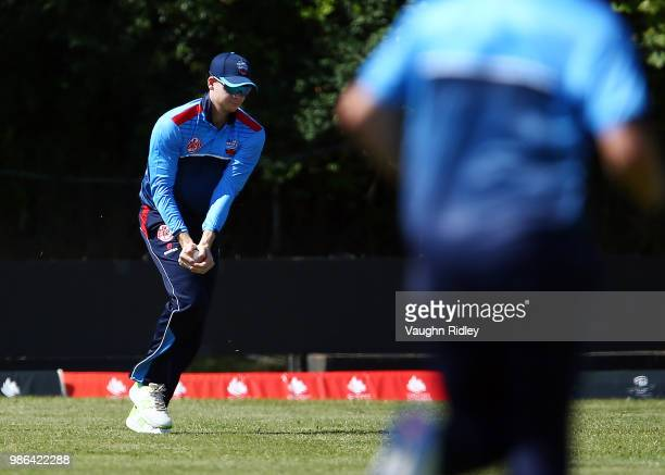 Steven Smith of Toronto Nationals takes a catch to dismiss Chris Gayle of Vancouver Knights during a Global T20 Canada match at Maple Leaf Cricket...