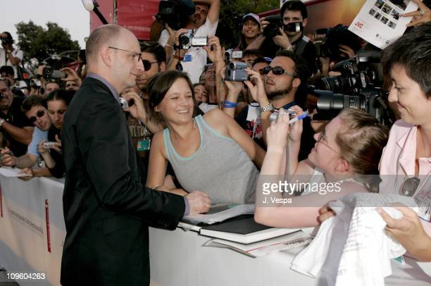Steven Soderbergh and fans during 2005 Venice Film Festival 'Good Night and Good Luck' Premiere Red Carpet at Sala Grande in Venice Lido Italy