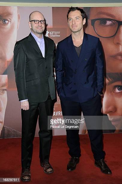Steven Soderbergh and Jude Law attend the 'Effet Secondaires' Premiere at UGC Cine Cite des Halles on March 7 2013 in Paris France