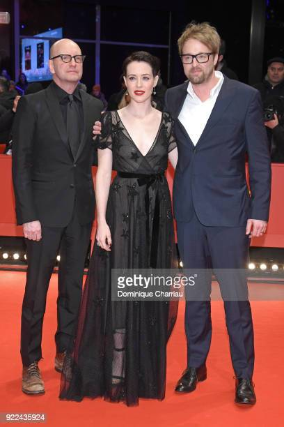 Steven Soderbergh Claire Foy and Joshua Leonard attend the 'Unsane' premiere during the 68th Berlinale International Film Festival Berlin at...
