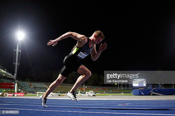 Steven Solomon competes in the Men's 400 metres Semi Final during the Australian Athletics Championships at Sydney Olympic Park on April 1 2016 in...