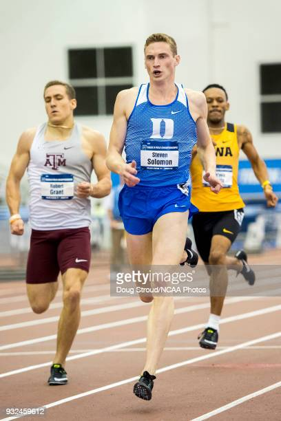 Steven Solomon of Duke University competes in the Mens 400 Meter Dash during the Division I Men's and Women's Indoor Track Field Championship held at...
