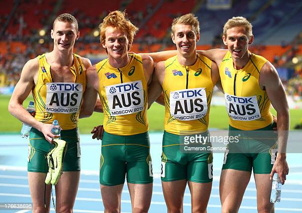 Steven Solomon Tristan Thomas Alexander Beck and Craig Burns and Australia after the Men's 4x400 metres final during Day Seven of the 14th IAAF World...