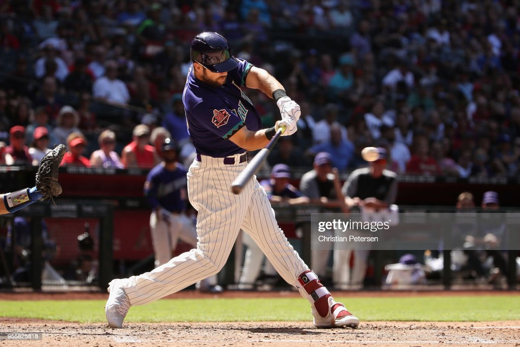 Steven Souza Jr. #20 of the Arizona Diamondbacks bats against the Los Angeles Dodgers during the MLB game at Chase Field on May 3, 2018 in Phoenix, Arizona. The Dodgers defeated the Diamondbacks 5-2.