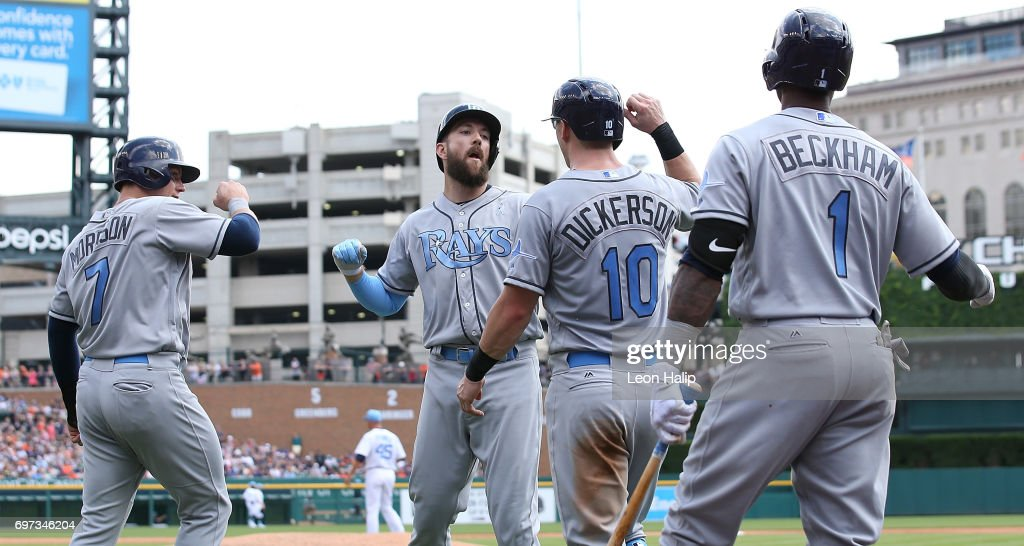Steven Souza Jr. #20 of the Tampa Bay Rays celebrates after hitting a third inning grand slam with teammates Corey Dickerson #10 during the game against the Detroit Tigers on June 18, 2017 at Comerica Park in Detroit, Michigan.