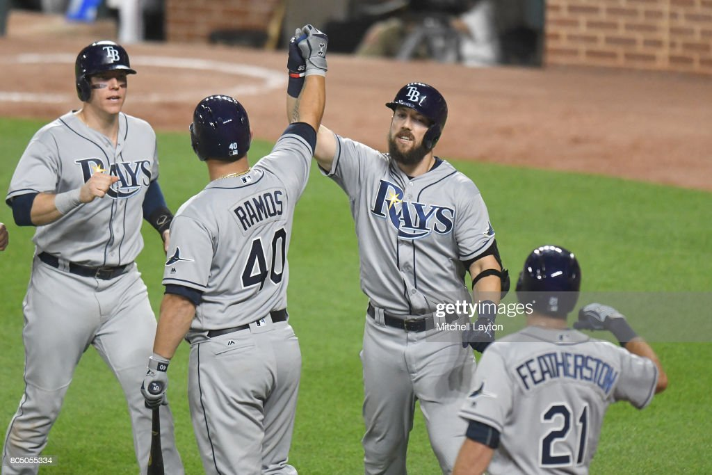 Steven Souza Jr. #20 of the Tampa Bay Rays celebrates hitting a game winning three run home run in the tenth inning with Wilson Ramos #40 during a baseball game against the Tampa Bay Rays at Oriole Park at Camden Yards on June 30, 2017 in Baltimore, Maryland. The Rays won 6-4 in ten innings.