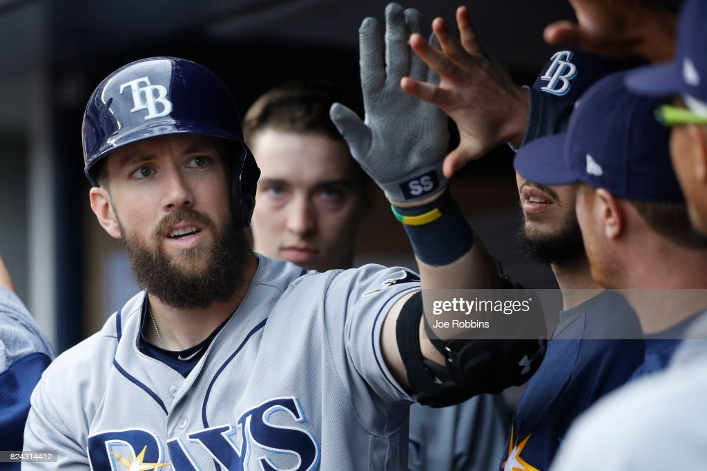 Steven Souza Jr. #20 of the Tampa Bay Rays celebrates with teammates after a solo home run in the fifth inning of a game against the New York Yankees at Yankee Stadium on July 29, 2017 in the Bronx borough of New York City. The Yankees defeated the Rays 5-4.