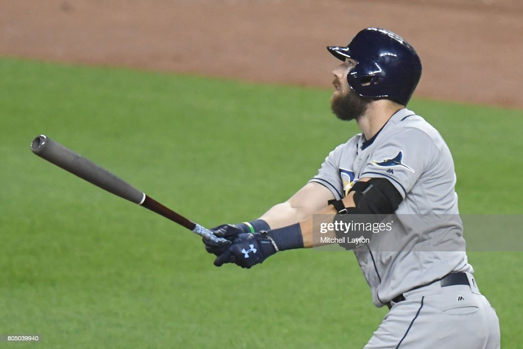 Steven Souza Jr. #20 of the Tampa Bay Rays hits a game winning three run home run in the tenth inning during a baseball game against the Tampa Bay Rays at Oriole Park at Camden Yards on June 30, 2017 in Baltimore, Maryland. The Rays won 6-4 in ten innings.