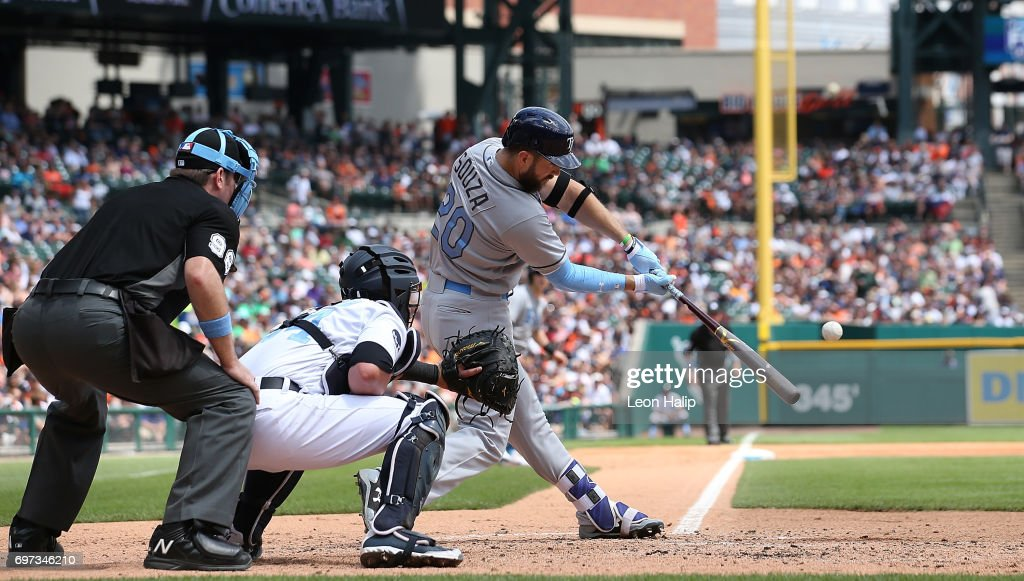 Steven Souza Jr. #20 of the Tampa Bay Rays hits a third inning grand slam during the game against the Detroit Tigers on June 18, 2017 at Comerica Park in Detroit, Michigan.