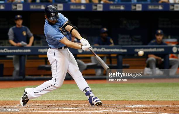 Steven Souza Jr #20 of the Tampa Bay Rays hits a walkoff home run off of pitcher Jacob Barnes of the Milwaukee Brewers during the bottom of the ninth...