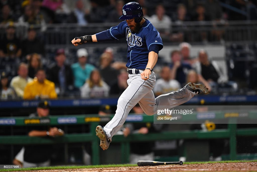 Steven Souza Jr. #20 of the Tampa Bay Rays scores during the tenth inning against the Pittsburgh Pirates at PNC Park on June 27, 2017 in Pittsburgh, Pennsylvania. Tampa Bay won the game 4-2.