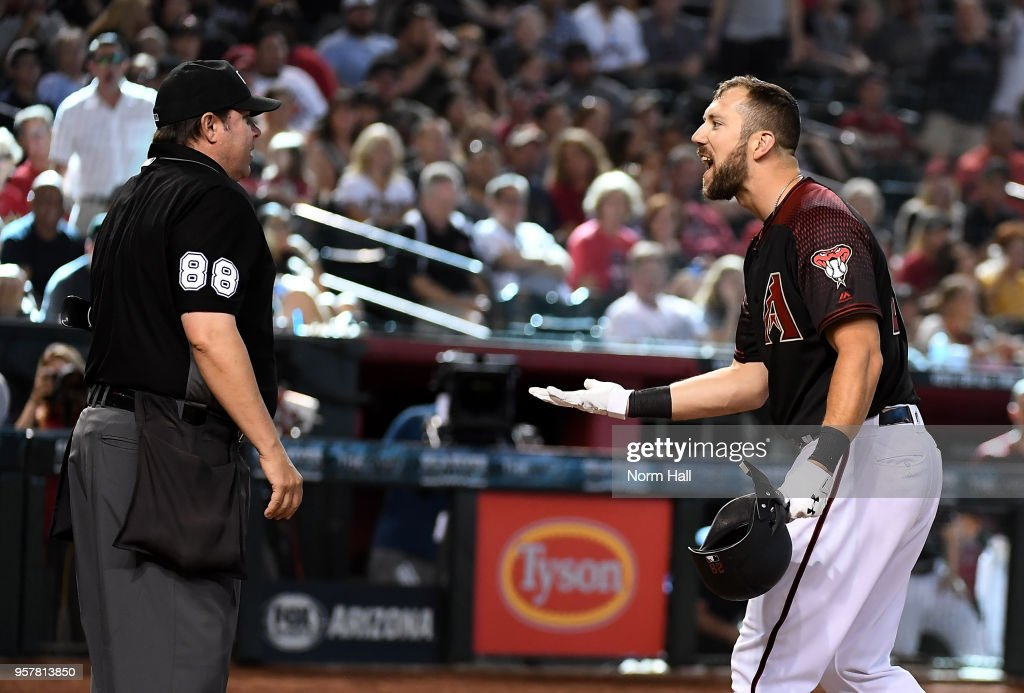Steven Souza Jr #28 of the Arizona Diamondbacks argues with home plate umpire Doug Eddings #88 after being ejected during the eighth inning against the Washington Nationals at Chase Field on May 12, 2018 in Phoenix, Arizona. Nationals won 2-1.
