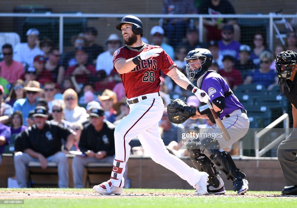 Steven Souza Jr #28 of the Arizona Diamondbacks follows through on a swing during the second inning of a spring training game against the Colorado Rockies at Salt River Fields at Talking Stick on March 12, 2018 in Scottsdale, Arizona.