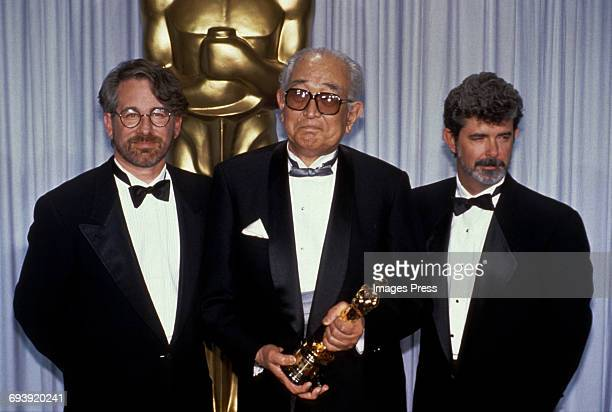 Steven Spielberg Akira Kurosawa and George Lucas attends the 62nd Academy Awards circa 1990 in Los Angeles California