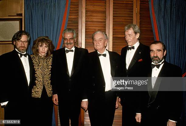 """Steven Spielberg, an unidentified woman, Omar Sharif, David Lean, Peter O'Toole, Martin Scorsese attend the """"Lawrence of Arabia"""" Restored Edition..."""