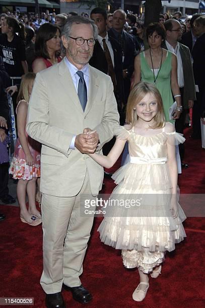 Steven Spielberg and Dakota Fanning during 'War of the Worlds' New York City Premiere Arrivals at Ziegfield Theater in New York City New York United...