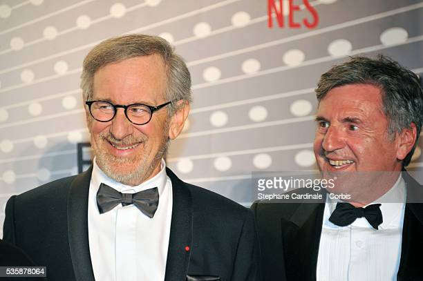 Steven Spielberg and Daniel Auteuil attend the 'Palme D'Or Winners dinner' during the 66th Cannes International Film Festival