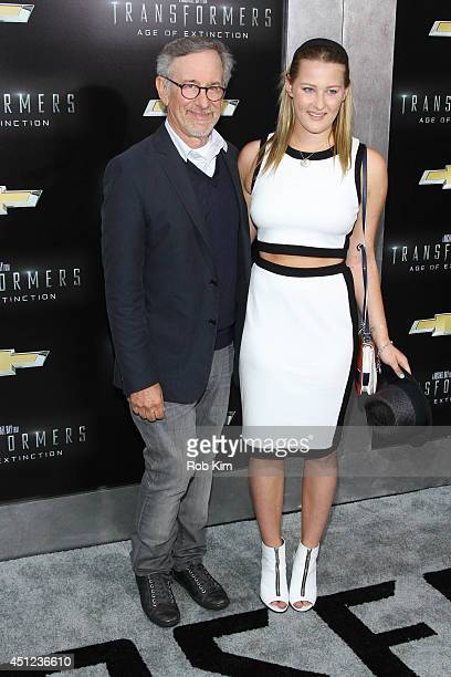 Steven Spielberg and daughter Destry Allyn attend Transformers Age Of Extinction New York Premiere at Ziegfeld Theater on June 25 2014 in New York...