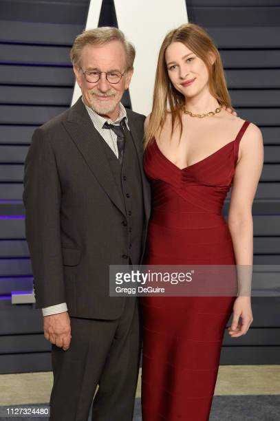 Steven Spielberg and Destry Spielberg attend the 2019 Vanity Fair Oscar Party hosted by Radhika Jones at Wallis Annenberg Center for the Performing...